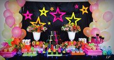 Neon Birthday, 13th Birthday Parties, 80th Birthday, Birthday Party Decorations, Halloween Decorations, Party Themes, Birthday Ideas, Glow Party, Fiesta Party