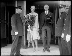 Miss Amelia Earhart and Mayor Edward Larkin of Medford, MA leaving the Ritz-Carlton Hotel by Leslie Jones, 1928