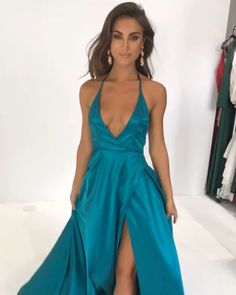 2019 prom dresses Long, green prom dresses with slit , Dance Outfits, Dance Dresses, Satin Dresses, Sexy Outfits, Fashion Outfits, Satin Gown, Cheap Prom Dresses, Homecoming Dresses, Sexy Dresses