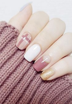 Fashion Fake Nails Glitter Gold White Pink Mauve Square Artificial Nail Tips with Glue Sticker for Office Home Faux Ongle - Pink Nail Art, Gel Nail Art, Pink Nails, My Nails, Nail Nail, Shellac Manicure, Gold Nail, White Nail Designs, Acrylic Nail Designs