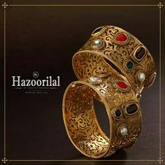 Hazoorilal Jewellers offers latest gold bangles designs that make you look royal & elegant . Visit and experience the best in class Gold Jewellery collection. Gold Bangles Design, Gold Earrings Designs, Gold Jewellery Design, Designer Bangles, Gold Jewelry Simple, Silver Jewelry, Swarovski Jewelry, Silver Rings, Silver Bangle Bracelets