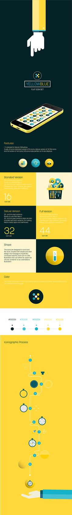 YellowBlue / Flat Icon Set + Landing page by Martín Liveratore, via Behance