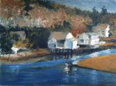 Quiet fishing village by artist Pam Siderewicz   BVAA