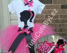 Pink Barbie Tutu Set. includes 5 Pieces. 6 Hair bow.