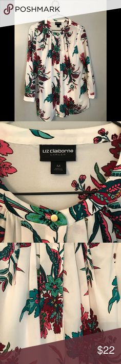 Liz Claiborne Career blouse Size M Floral pattern Camisole underneath  Gold button detail on neck and sleeves  Like new! Worn twice Liz Claiborne Tops Blouses