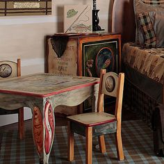 Antique Furniture Vintage Childrens Furniture Card Table Chairs ...