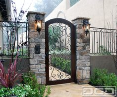 Mediterranean style entry gate with hand-forged scrolling & wooden frame by Dynamic Garage Door - by Kay Berry Front Gates, Front Yard Fence, Entry Gates, Front Yard Landscaping, Door Entry, Front Doors, Yard Gates, Vine Fence, Garage Doors