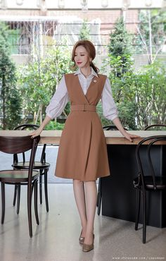 Surplice Sleeveless Belted Flared Dress USD Quarter Puff Sleeve Collared Blouse USD From Seoul, Korea. Buy it now at Ministry of Retail Online Fashion Store. Classy Work Outfits, Cute Casual Outfits, Classy Dress, Modest Outfits, Dress Outfits, Casual Dresses, Fashion Dresses, Elegant Outfit, Elegant Dresses