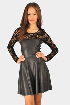 Leather and lace dress