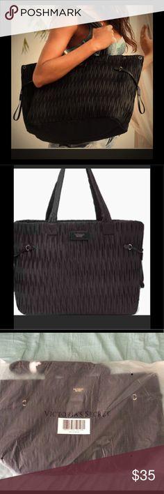 VS black tote Victoria's Secret Shirred black tote Victoria's Secret Bags Totes