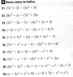 Resultado de imagen para ejercicios de resta con polinomios