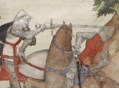 Notice the length of the sword and the fingered, spearlike grip.  BNF MS Français 343: La Quête du Saint Graal et la Mort d'Arthus, fol. 64r.