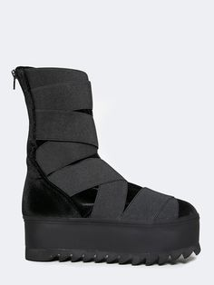 Jeffrey Campbell Nowhere Black Velvet Flatform Sneakers | ZOOJI
