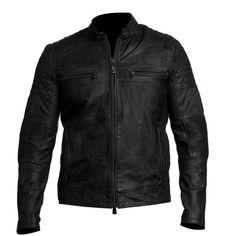 Mens Vintage Biker Motorcycle Cafe Racer Leather Jacket