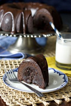 Fudge Tunnel Cake - A beautiful chocolate bundt cake featuring a tunnel of fudge running through the middle!