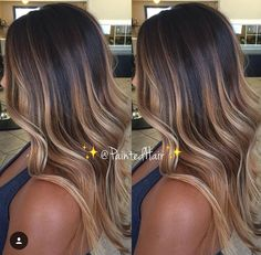 37 Sweet Caramel for 2019 Balayage is an alternative technique to traditional salon highlighting with foils. Your colorist can literally paint highlights precisely where the sun would actually hit your hair. Caramel balayage on black hair can. Hair Color Balayage, Haircolor, Brunette Hair Chocolate Caramel Balayage, Fall Balayage, Caramel Ombre, Orange Caramel, Caramel Balayge, Caramel Brown, Color Highlights