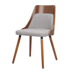 Walnut Plywood and Grey Fabric Dining Chair with Solid Wood Legs                                                                                                                                                                                 More
