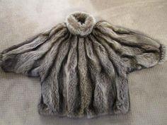 Raccoon Vintage Custom Brown Fur Jacket Zip Front Dolman Sleeves Size M-L | eBay