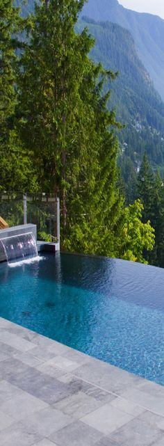 Gorgeous view. Infinity edge pool with waterfall sound combined with this slope may not be for the faint of heart.
