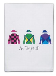 "And They're Off! Bar Towels. The perfect towel bar for your next racing party. (also doubles as a great Kitchen towel too!). Decorated with colorful jockey silks. 100% lint-free cotton woven in a huck pattern..Hand-printed in the USA. 17""x 22"""