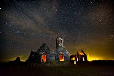 beautiful sky over Ross Errilly Co Galway, Ireland - c ledwith