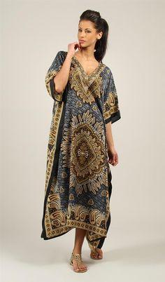 Rubina Kapoor's Ladies Long Beautiful Black paisley Print Plus Size Maxi Ethnic Print Kaftan