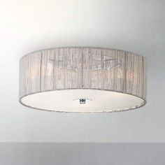 Possini Euro Sheer Silver Fabric 16-Inch-W Ceiling Light - #EU96365 - Euro Style Lighting
