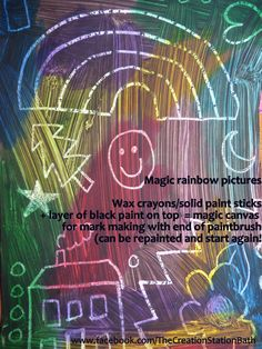 Kids crafts - Magic rainbow canvases using wax crayons or solid paint sticks with a layer of black paint on top.  Then use end of a paintbrush for mark making, drawing or writing.  Can be repainted to begin all over again.