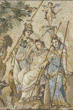 """""""Mosaic of the Judgment of Paris, adorned a dining room in the house of a wealthy Roman in Antioch Roman, Asia Minor, 115 - 150 """" Hera Goddess, Greek Goddess Of Wisdom, Aphrodite, Ancient Rome, Ancient Greece, Ancient Art, Ancient History, Judgement Of Paris, Mosaic Wall Art"""