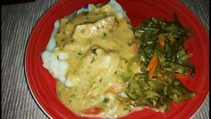 White gravy with milk ,boneless pork and veggies , mashed potatoes and green beans with carrots