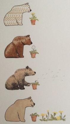 bear and dandelion ink, felt tip, coloured pencils