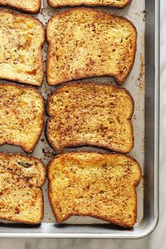 This Sheet Pan French Toast is the answer to your brunch dreams! It's ready to serve in under 30 minutes, and can easily be doubled to serve a crowd. Happy brunching! Oven Baked French Toast, French Bread French Toast, Cinnamon Roll French Toast, Banana French Toast, Overnight French Toast, French Toast Bake, French Toast Calories, Breakfast For A Crowd, Breakfast Muffins