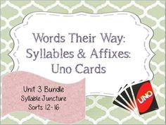Words Their Way: Syllables & Affixes: Unit 3: Syllable Jun
