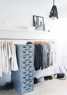 Organized closet for minimalists dream.