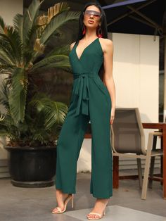 Oversize Halter Backless Belted Deep V Wrap Jumpsuit Party Dresses,party dresses for girls, cheap party dresses, designer party dresses, party Cheap Party Dresses, Designer Party Dresses, Party Dresses Online, Girls Party Dress, Party Dresses For Women, Trend Fashion, Look Fashion, Womens Fashion, Chic Outfits