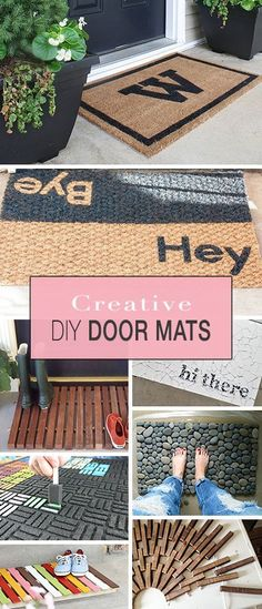 Welcome your visitors to your home with these updated and creative front door mats! Easy and crafty projects you can do in an afternoon! Crafty Projects, Diy Projects To Try, Home Projects, Home Crafts, Diy Home Decor, Diy And Crafts, Front Door Mats, Diy Door Mats, Photo Deco