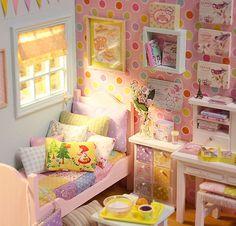 Diorama Happy Rainbow Bedroom Ooak by Nerea Pozo * Keera *        #diorama #dollhouse #miniature
