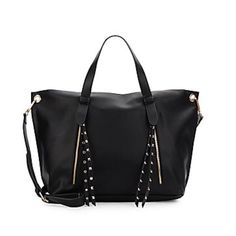 "Large Studded Steve Madden Tote This bag isn't easy to find, so go ahead and hit the ""buy now button!"" Excellent deal, because the price was originally $108. Very spacious, versatile, and stylish! Who doesn't need. Big black bag to go with everything? Steve Madden Bags Totes"