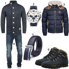 0495d5b175ac9d Blaues Herrenoutfit mit Strickajcke und dicker Steppjacke