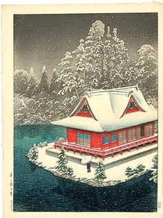 Kawase Hasui, Night view of Benten Shrine Snow at Inokashira Park (1928)