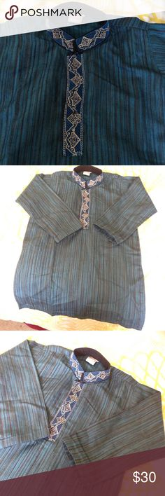 Kids kurta blue and black lines. Boys kurta blue and black lines absolutely beautiful. Embroidery around the neck line with tiny sequence. It would fit 3t to 5t. Tops
