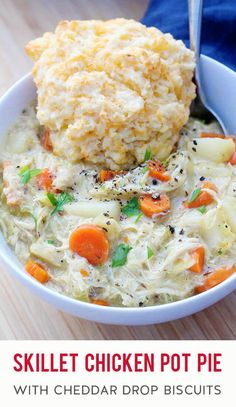 In the mood for the best stick to your ribs comfort food? Fix this thick & hearty homemade chicken pot pie in one skillet on the stovetop and while the filling is simmering away, bake a batch of easy cheddar garlic drop biscuits to serve on top. The combo of creamy sauce, tender chicken, veggies & potatoes (no peas) + buttery, flaky biscuits is heavenly! Keep this recipe in your back pocket for using up a leftover rotisserie chicken, Thanksgiving turkey, or Easter ham when the weather's cold.