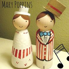 Mary Poppins and Bert Wooden Doll Cake Toppers by claracupcake, $43.00