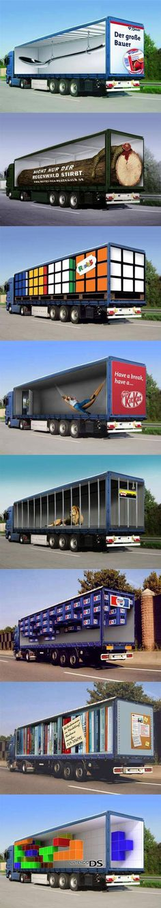 Creative truck advertisements. too cool!