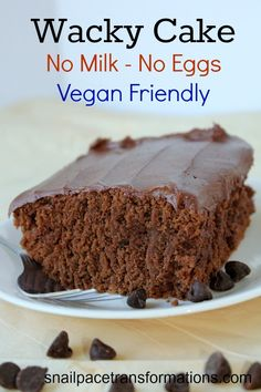 Chocolate Wacky Cake: No Eggs, No Dairy, Moist, and Yummy! and Vegan Friendly Vegan Treats, Vegan Foods, Vegan Desserts, Just Desserts, Delicious Desserts, Yummy Food, Vegan Cake, Health Desserts, Egg Free Recipes