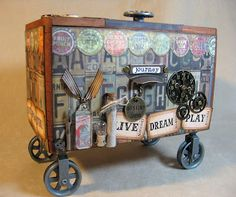 Annettes Creative Journey: Altered Cigar Box on Pulley Wheels