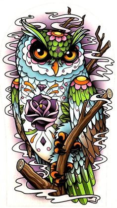 Beautiful tattoo flash of owl with rose in amazing colors