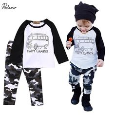 Newborn Baby Boy Letter T-shirt Tops+Camouflage Pants Outfit,2pcs Infant Toddler Kids spring/autumn bus outfits Clothes  #Affiliate