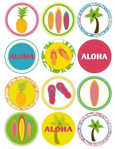 PRINTABLE PARTY CIRCLES Summer Luau Party by lovetheday on Etsy. $12.00, via Etsy.