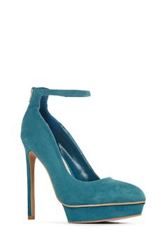 So chic for this season (and beyond!) JF Emily is a pointed Mary Jane heeled with an island platform. Ankle strap features added gore for extra comfort. Zip back, faux suede....